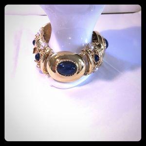 Vintage Joan Rivers faux lapis gold bracelet